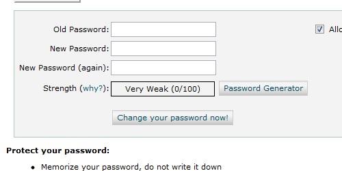 cPanel change password form